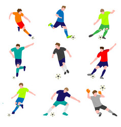 set of football players with ball isolated on vector image