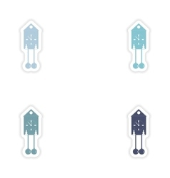 Set of paper stickers on white background vintage vector
