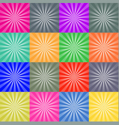 set of retro ray backgrounds colorful vector image