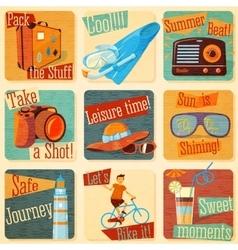 set retro stylized summer icons vector image