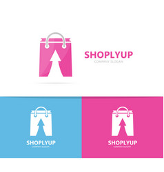 shop and arrow up logo combination sale vector image