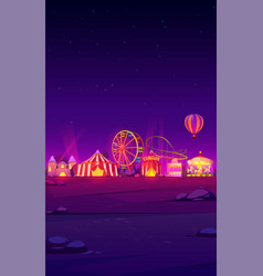 smartphone background with night carnival funfair vector image