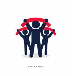 soccer fans with scarves vector image