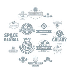 Space planet logo icons set simple style vector