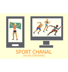 sport tv channel on computer monitor and phone vector image