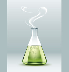 steaming laboratory flask vector image