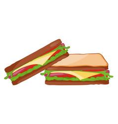 Tasty sandwich isolated icon vector