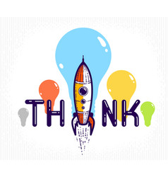 think word with pencil instead letter i ideas vector image