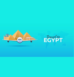 Travel to egypt airplane with attractions travel vector