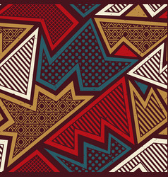 Tribal geometric seamless pattern with grunge vector