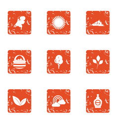 Uv protection icons set grunge style vector