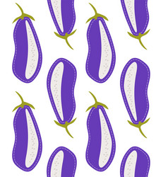Vegetable seamless pattern cartoon aubergine vector