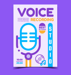 Voice recording studio promotional banner vector