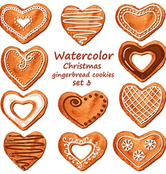 Watercolor heart gingerbread cookies vector image