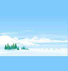 Winter lake in moutains landscape panorama vector