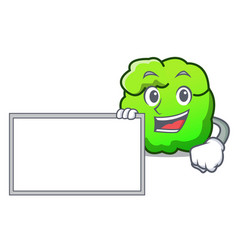 With board shrub character cartoon style vector