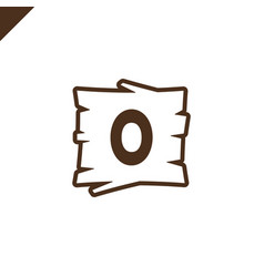 wooden alphabet or font blocks with letter o in vector image