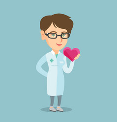 Young caucasian doctor cardiologist holding heart vector