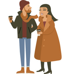 young hipster couple drinking take away coffee vector image