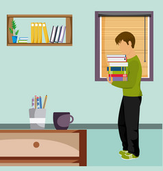 Young man studying at home vector