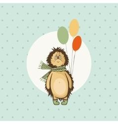 hedgehog birthday greeting vector image vector image