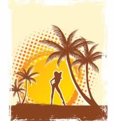 palm sun vector image vector image