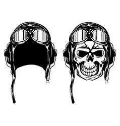 skull in pilots helmet vector image vector image