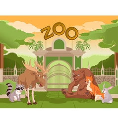 Zoo gate with forest animals 2 vector image