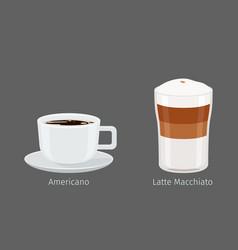 americano and latte macchiato coffee vector image vector image