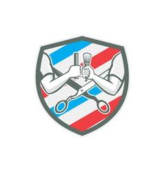 Barber Hand Comb Brush Scissors Shield Retro vector image vector image