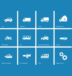 Cars and Transport icons on blue background vector image