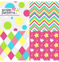 Set of four simple seamless patterns vector image