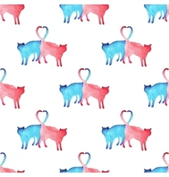 Watercolor cats pattern vector image vector image