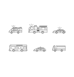 Car Thin Line Icons Set vector image