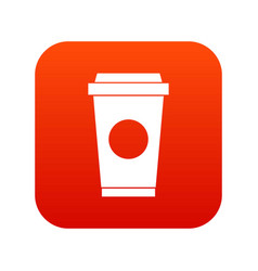 coffee in take away cup icon digital red vector image