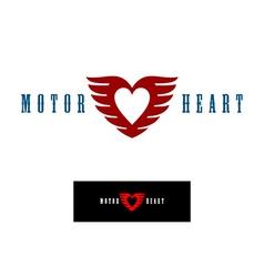 Motor heart logo template vector image