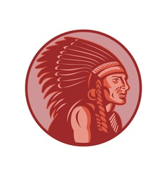 native american indian chief side view vector image vector image