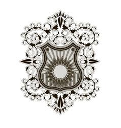 Ornate shield label design template vector image vector image