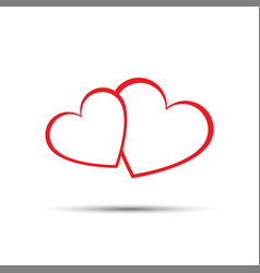 simple two red hearts icon vector image vector image