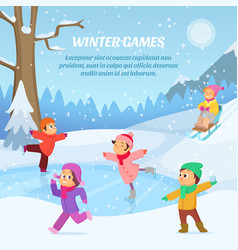 kids playing in winter games on playground vector image vector image