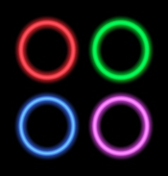 Neon signboard for design circles vector image vector image