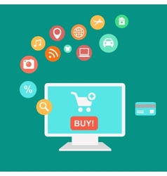 Online shopping and e-commerce concept buying vector image vector image