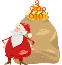 santa with gifts cartoon vector image