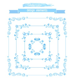 set of vintage watercolor frames vector image vector image