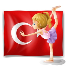 A girl with the flag of Turkey vector