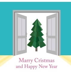 Abstract christmas background with doors vector