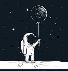 Adventure astronaut on moon vector