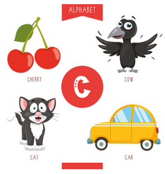 alphabet letter c and pictures vector image