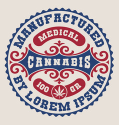 An old fashioned editable label for a cannabis vector