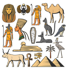 Ancient egypt pharaoh pyramids sphinx and gods vector